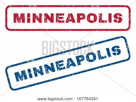 Minneapolis text rubber seal stamp watermarks. Vector style is blue and red ink tag inside rounded rectangular shape. Grunge design and dust texture. Blue and red emblems.