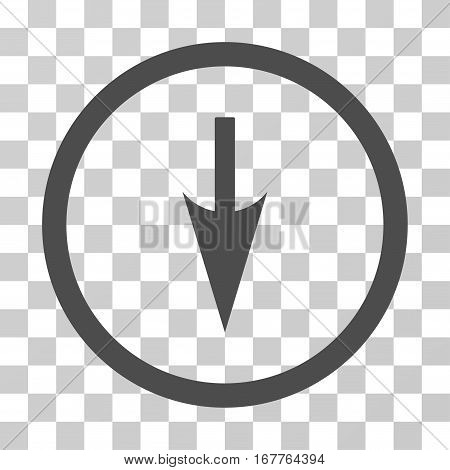Sharp Down Arrow rounded icon. Vector illustration style is flat iconic symbol inside a circle, gray color, transparent background. Designed for web and software interfaces.