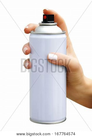 Spray aerosol in female hand on white background