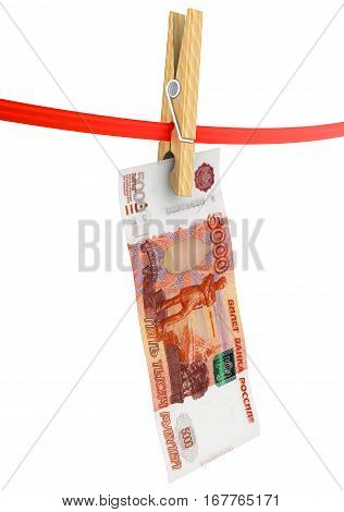 Legalization of funds (money laundering). Banknote of five thousand Russian rubles drying on red clothesline. Concept of money laundering. Isolated. 3D Illustration