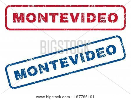 Montevideo text rubber seal stamp watermarks. Vector style is blue and red ink caption inside rounded rectangular banner. Grunge design and dust texture. Blue and red emblems.