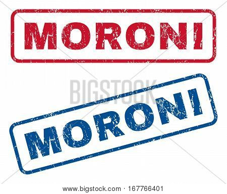 Moroni text rubber seal stamp watermarks. Vector style is blue and red ink caption inside rounded rectangular banner. Grunge design and dust texture. Blue and red emblems.