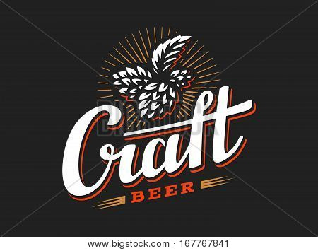 Craft beer logo- vector illustration hop, emblem design on black background
