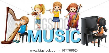 Font design with girls playing music illustration