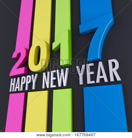 3D rendering of happy new year 2017 message in colorful relief with a black background