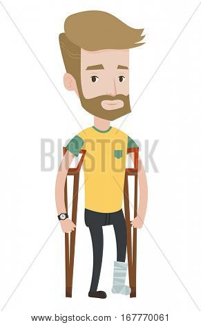 An injured hipster man with the beard with leg in plaster. Caucasain man with broken leg using crutches. Young man with fractured leg. Vector flat design illustration isolated on white background.