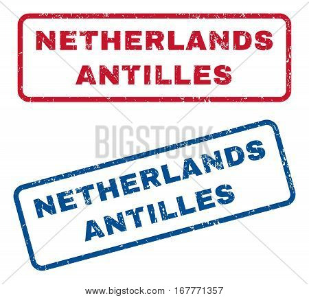 Netherlands Antilles text rubber seal stamp watermarks. Vector style is blue and red ink tag inside rounded rectangular shape. Grunge design and scratched texture. Blue and red signs.