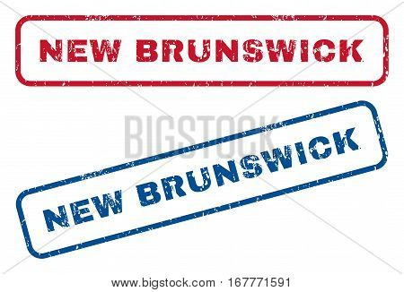 New Brunswick text rubber seal stamp watermarks. Vector style is blue and red ink caption inside rounded rectangular shape. Grunge design and unclean texture. Blue and red emblems.