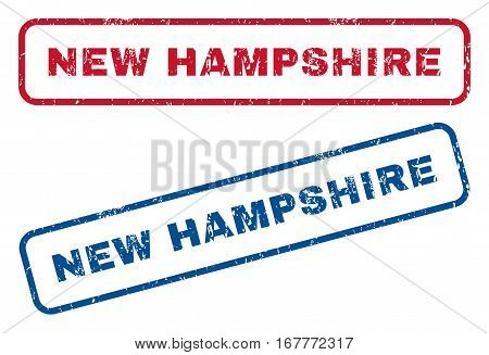 New Hampshire text rubber seal stamp watermarks. Vector style is blue and red ink caption inside rounded rectangular shape. Grunge design and unclean texture. Blue and red emblems.