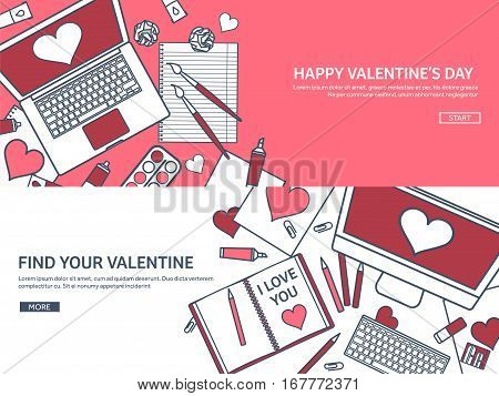 Love and heart. Lined vector illustration. Flat background with laptop. Hearts. Valentines day. Be my valentine. 14 february. Message.