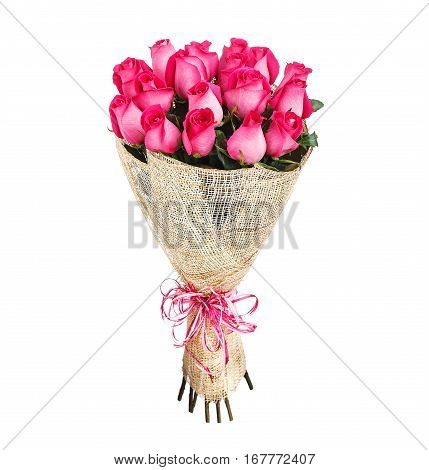 Flower bouquet of pink roses isolated on white background.