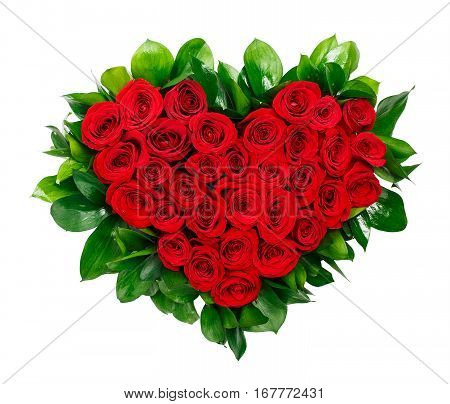 Heart shaped bouquet of red roses isolated on white background.