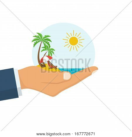 Travel agent holding tropical island with palm lounger and ocean. Summer vacation. Best travel offer template for advertising promotion. Vector illustration flat design. Isolated on white background.