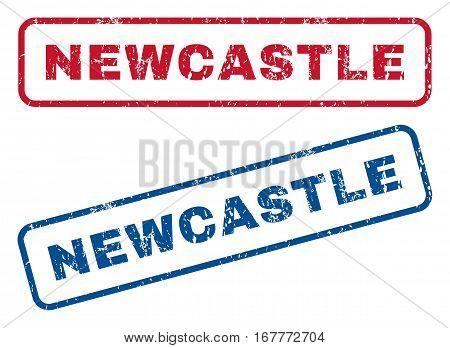Newcastle text rubber seal stamp watermarks. Vector style is blue and red ink tag inside rounded rectangular banner. Grunge design and dust texture. Blue and red stickers.