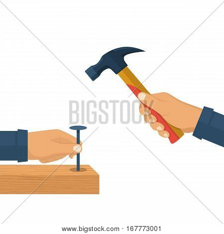 Holding in hand hammer and nail. Carpenter hammers a nail in wooden beam. Construction and repair. Human repairman with working tools. Vector illustration flat design. Isolated on white background.
