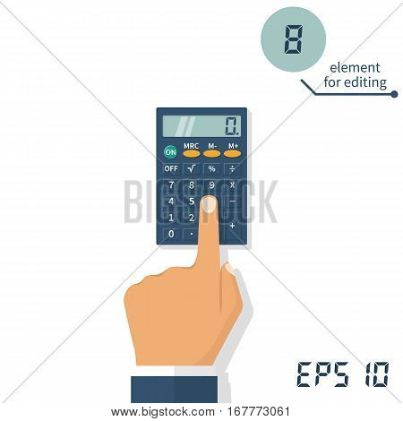 Hand with a calculator. Calculation concept, icon. Businessman, accountant. Flat design, Vector Illustration. Isolated on white background. Element for editing digital values.