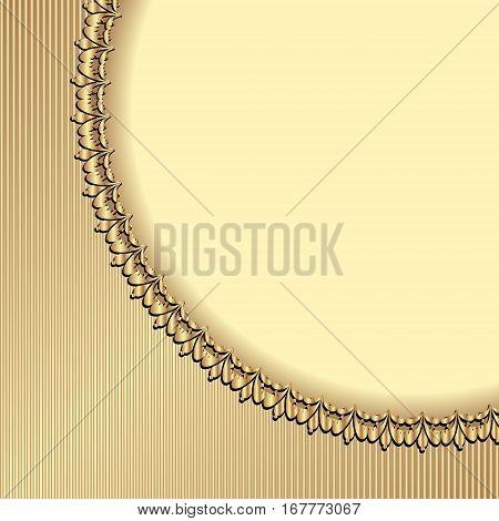 golden background with vintage border - vector illustration