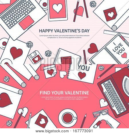 Love and heart. Lined vector illustration. Flat background with laptop, typewriter. Hearts. Valentines day. Be my valentine. 14 february. Message.