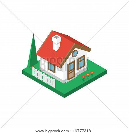 Isometric house on green ground isolated on white background. Around the house fence, flowers, tree. Small suburban cottage. Home property, construction concept. Vector illustration flat design.
