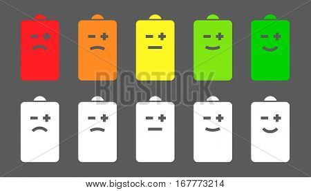 Battery level emoji or smiley faces icons. Showing health of the battery visualization. Colored and white icon set on gray background. Isolated Vector Illustration.