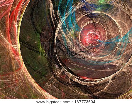 Futuristic or esoteric fractal background - abstract computer-generated image. Digital art: chaos circles and curves like unusual portal or tunnel. For covers, web design, banners.