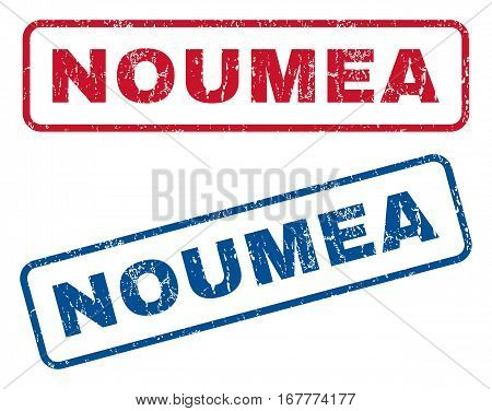 Noumea text rubber seal stamp watermarks. Vector style is blue and red ink caption inside rounded rectangular banner. Grunge design and dirty texture. Blue and red stickers.