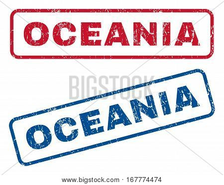 Oceania text rubber seal stamp watermarks. Vector style is blue and red ink caption inside rounded rectangular shape. Grunge design and dirty texture. Blue and red stickers.