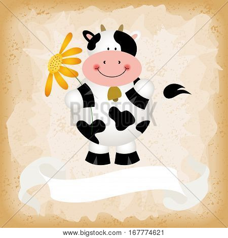 Scalable vectorial image representing a cute cow on old vintage background.
