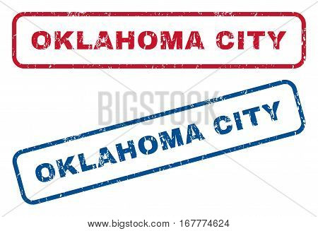 Oklahoma City text rubber seal stamp watermarks. Vector style is blue and red ink tag inside rounded rectangular banner. Grunge design and unclean texture. Blue and red signs.