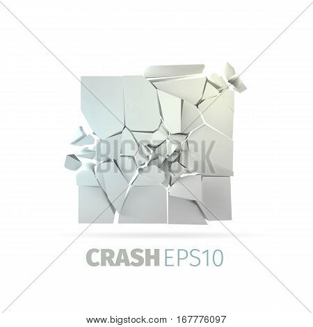 Cracked stone banner. Isolated rock crash and destruction