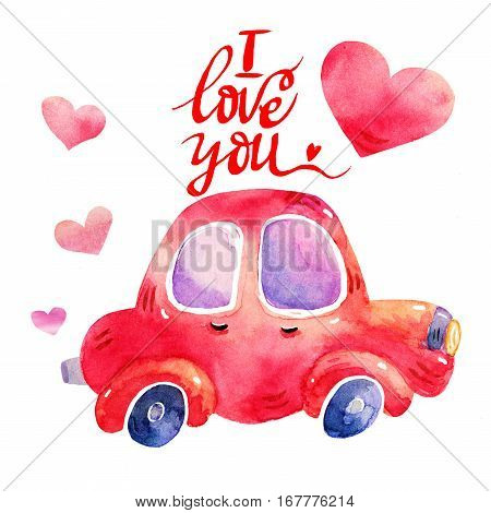 Watercolor retro red car illustrations isolated on white background. Colorful hand drawn vintage illustration. Perfect for kids cartoon magazine. I love you lettering