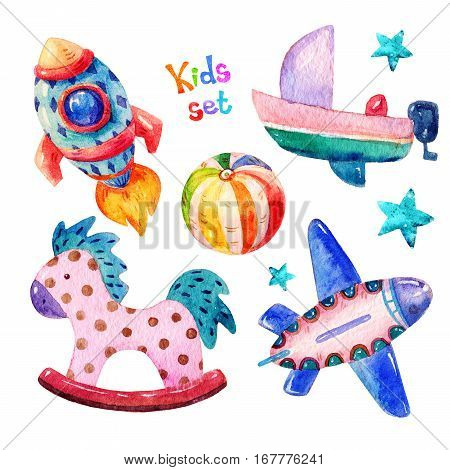 Colorful Watercolor kids set in cartoon childish toys stile of rocket aircraft star ball rocking horse boat image. Hand drawing cute kids set icons illustration isolated on white background.