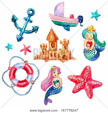 Cartoon Watercolor Set of watercolor mermaid lifebuoy starfish boat anchor star illustrations isolated on white background. Colorful hand drawn vintage illustration. Perfect for kids image marine style
