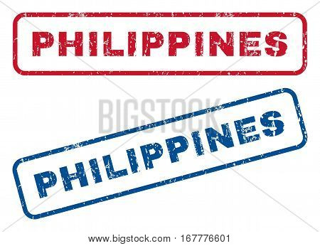 Philippines text rubber seal stamp watermarks. Vector style is blue and red ink caption inside rounded rectangular banner. Grunge design and dust texture. Blue and red signs.