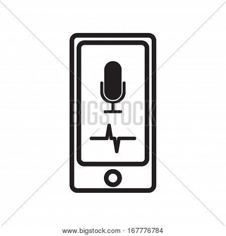 Digital generated smartphone with intelligent personal voice assistant app over white background, speech recognition, voice recognizer.