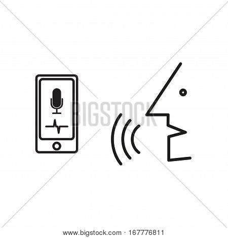 Digital generated smartphone with intelligent personal voice assistant app and speaking man over white background, speech recognition, voice recognizer, voice command, voice control