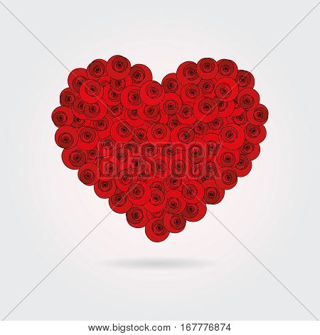 A heart made of stylized red roses.