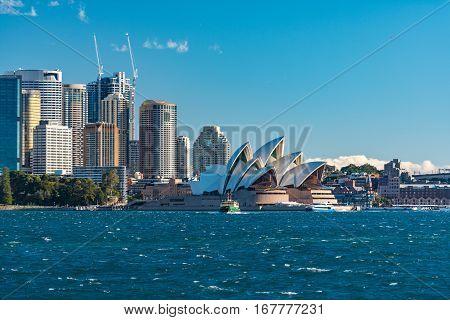 Sydney Cbd Cityscape With Iconic Landmark Sydney Opera House