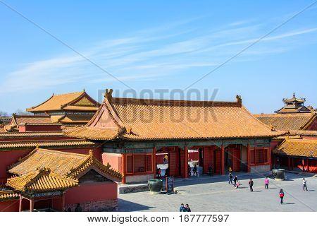Beijing, China - March 1, 2016: Courtyard of the Forbidden City in Beijing
