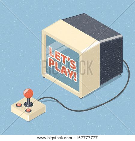 Tv set and retro joystick gamepad. Isometric vector illustration.