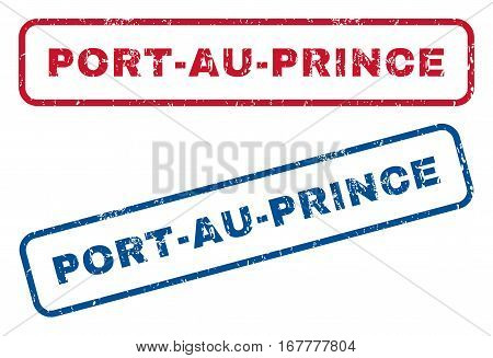 Port-Au-Prince text rubber seal stamp watermarks. Vector style is blue and red ink caption inside rounded rectangular shape. Grunge design and dirty texture. Blue and red stickers.