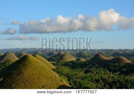 Landscape in Philippines, sunset over the chocolate hills on Bohol Island