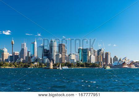Sydney Cbd Cityscape With Iconic Sydney Opera House