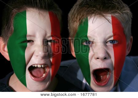 Young Italian Football/rugby Fans