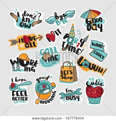 Collection of stickers and signs for social network, web design, mobile messages, social media, online communication, cards and printed material, app. Vector illustrations for everyday communication.