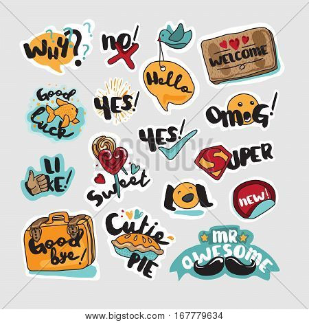 Set of stickers and signs for everyday communication. Vector illustrations for social network, website design, mobile messages, social media, online communication, cards and printed material, app.