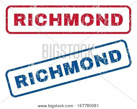 Richmond text rubber seal stamp watermarks. Vector style is blue and red ink caption inside rounded rectangular shape. Grunge design and dirty texture. Blue and red stickers.