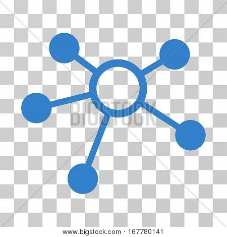 Connections icon. Vector illustration style is flat iconic symbol, cobalt color, transparent background. Designed for web and software interfaces.