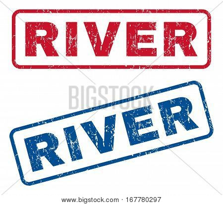 River text rubber seal stamp watermarks. Vector style is blue and red ink tag inside rounded rectangular banner. Grunge design and dirty texture. Blue and red signs.