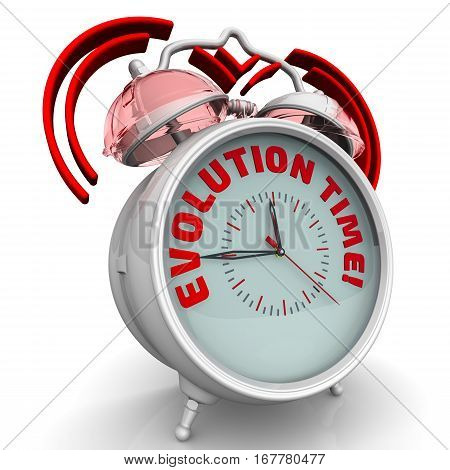 Evolution time! Alarm clock with the words